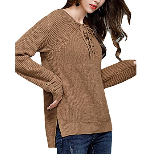 JLTPH Femmes Manches Longues V Collar Straps Knitted Sweater Shirts Casual Tops Blouse Chemises 03