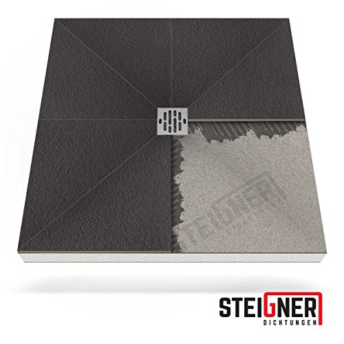 duschwanne 110x100 Duschelement MINERAL BASIC Duschboard befliesbar 110x110 cm Ablauf SENKRECHT - EPS Bodenelement ebenerdig barrierefreie Duschwanne bodengleich