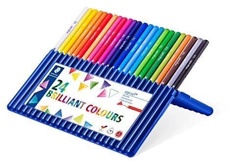 Staedtler 157 SB24 ergo soft Buntstifte (erhöhte Bruchfestigkeit, dreikant, ABS-System, rutschfeste Soft-Oberfläche, kindgerecht nach DIN EN71, FSC-Holz, Made in Germany) Set mit 24 brillanten Farben