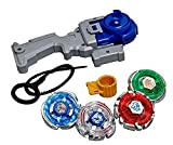 #8: 4D System Beyblades 4 in 1 beyblades Metal Fighter By Sceva,Fighters Fury with Metal Fight Ring and Handle Launcher Toy (multicolour)