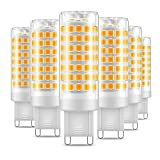 Eterbiz G9 LED Bulb, No Flicker 7W Equivalent to 60W Halogen Bulbs, 650LM, Warm White(3000K), G9 Energy Saving Light Bulbs, 6-Pack