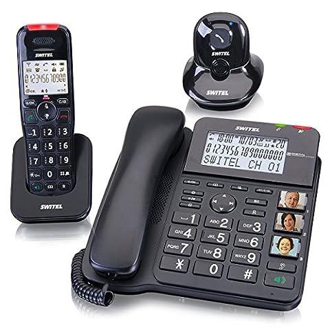 SWITEL Kombi Set aus Schnurlostelefon und Schnurtelefon mit Anrufbeantworter und Alarmanhaenger