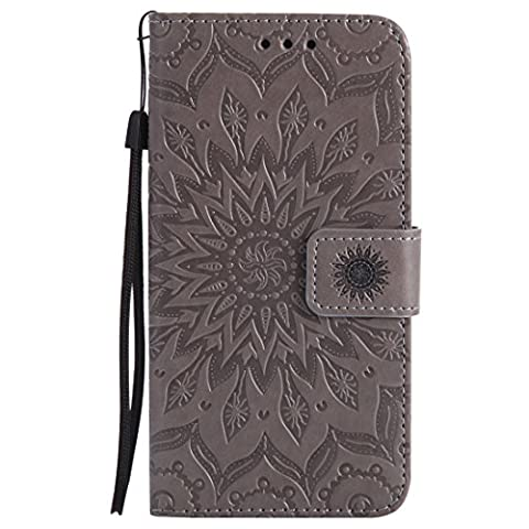 LG Nexus 5X Case, Chreey New [Embossed Sun Blossom] Leather Flip Phone Case / Cover / Skin [Gray] + Wallet Card Slots and Stand