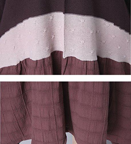 2017 Frühling Der Frauen Koreanische Lose Nähte Runden Ausschnitt Mit Langen Ärmeln Kleid Große Yards Purple