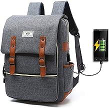 Mochila Dacron Para Computadora Para Estudiante Espacio Para Colocar Cable USB, Uso General (Caballeros y damas) Escuela Comercio Viaje Gris