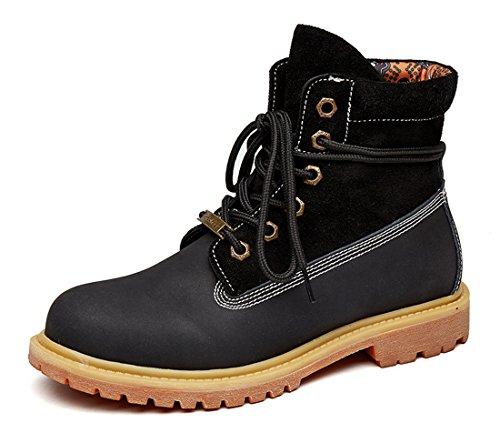 Honeystore Damen Desert Boots Leder Martin Stiefel Große Größe Leder Flache Boots Neue Populäre Frauen Stiefel Schwarz 44 EU (Schwarze Hoch Neue Leder Flach)