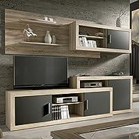 HomeSouth Mueble de comedor, salon modelo Opalo, acabado color Cambria y Grafito, medidas: 240 cm de ancho