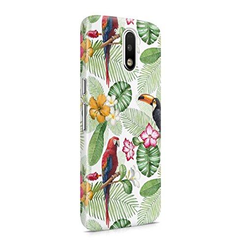 Tropical Amaryllis Flower & Parrot Birds Pattern Motorola Moto G4 PLUS Snap-On...