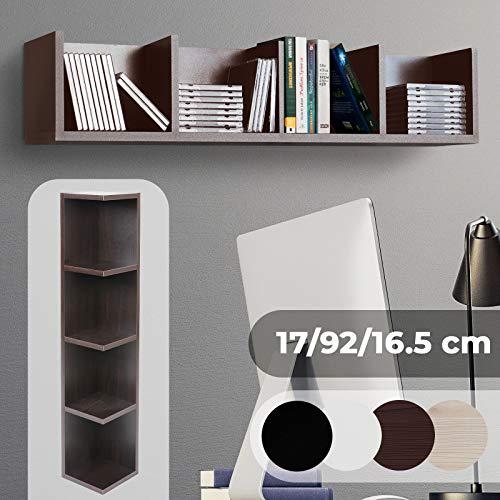 CD DVD Regal - für bis zu 80 CDs, 17x92x16cm, 4 Fächer, MDF, Mocca - Ständer, Hängeregal, Wandregal, Bücherregal, Medienregal