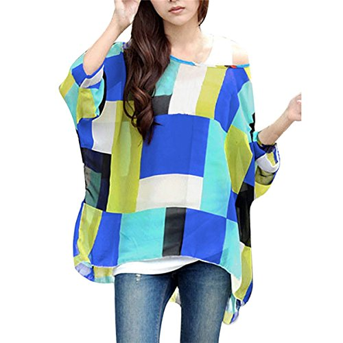 QQI Donna Bohemian Stampa Floral Camicetta 3/4 Sleeve Chiffon Blouse Off Shoulder Tunica Batwing T-shirt Tops color02