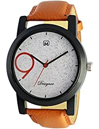 Om Designer White Dial Analogue Brown Belt Watch For Mens & Boys OM-99