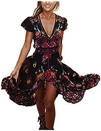 Inlefen Imprimir Vestido Vestidos Vestidos Bohemia Vintage de verano de las mujeres Vestidos profundos de la