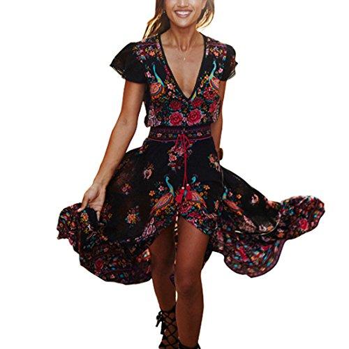 Inlefen Imprimer Robes Longue Jupe Femmes Summer Bohemia Vintage Dress Deep V-Cou Robes de Plage L