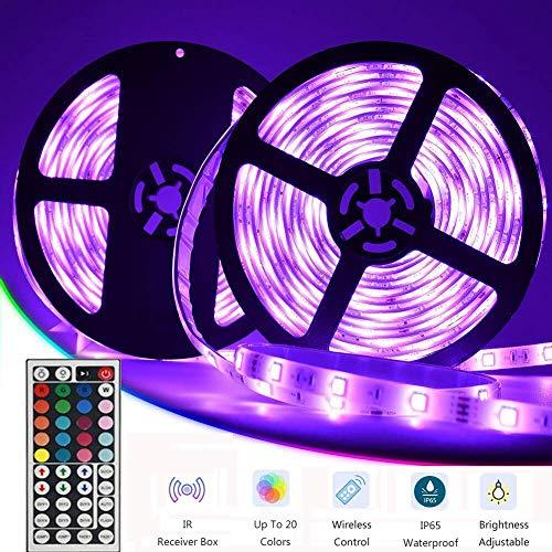 LED Streifen,Targherle 10M LED Bänder 5050 SMD 300 LEDs IP65 Wasserdicht RGB LED Stripes mit 44Key Fernbedienung und Netzteil für Decke Bar Schrank Terrasse Balkon Party und Haus