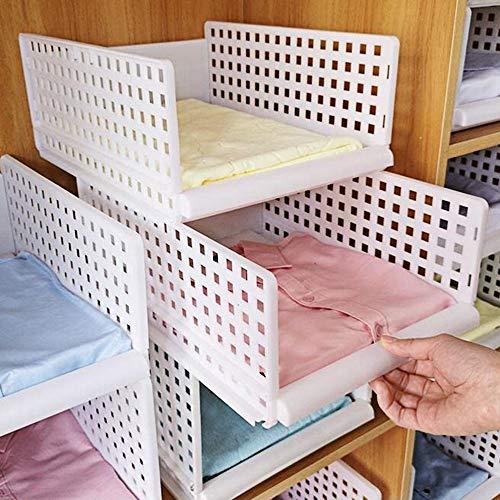 2 Schublade Schrank Organizer (Yoillione Regal Kleiderschrank Organizer Schublade Weiß für Schlafzimmer Badezimmer Küchen,Stapelbar Schrank Organizer Kleiderschrank Aufbewahrung Garderobe Organizer für Kleidung)