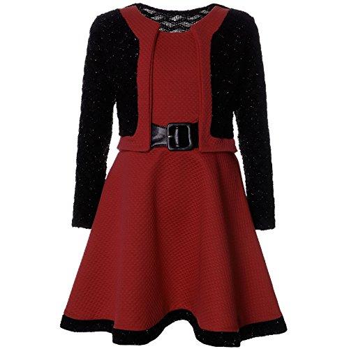 BEZLIT Mädchen Spitze Winter Kleid Langarm 21644, Farbe:Bordeaux, Größe:92