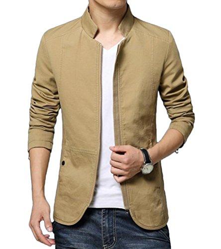 Brinny Printemps Automne Veste en Coton pour Homme Coréenne Slim Baseball Coat Basic Bomber Jacket Mince Blouson 4 Couleurs TailleM/L/XL/2XL/3XL/4XL/5XL Kaki