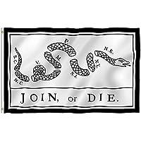 AzuNaisi Praktische Join or Die Flag Durable Unabhängigkeitskrieg Flagge Tragbare Metall Grommet Flagge für Festival Veranstaltungen |3 * 5FT Home dekor