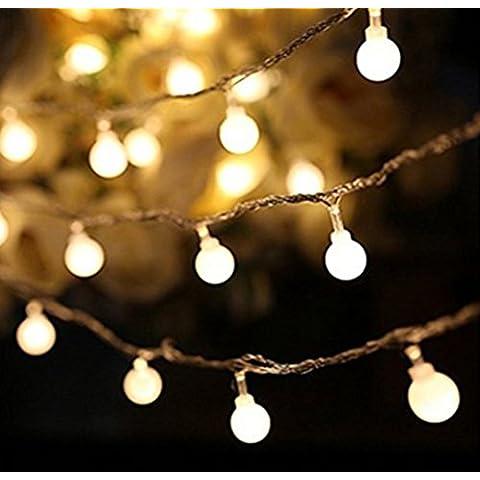 Luces de Halloween 10M 80 LED de 3 modos con pilas del Globe luces de la secuencia para la boda de Navidad de cumpleaños festival del jardín del partido del hogar para uso en interiores al aire libre (luz blanca