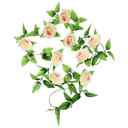 Topf Im Pflanze Kostüm - JackRuler Simulation Rose Rattan Kunstseide-Rosen-Blumen-Efeu-Rebe Blatt Garland Hochzeit Garlands für Hochzeit Garten Wand Dekoration(APPR.2.5m) (Beige)