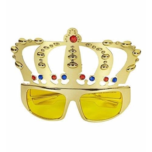 1x Partybrille * KÖNIG * für Karneval, Geburtstag oder Motto-Party // mit goldener Krone!