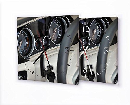 Printalio Bentley - Moderne Wanduhr mit Fotodruck auf Leinwand Keilrahmen | Fotouhr Bilderuhr Motivuhr Küchenuhr Modern Hochwertig Quarz | 30 cm x 30 cm mit weißen Zeigern