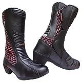 Speed MAXX‿Ltd Chaussures de Moto imperméables en Cuir pour Femme Motif Hawk Rose