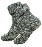 dunaro 1 Paar Extra warme und weiche Thermo Socken mit Umschlag (1Paar Grau, 43-46)