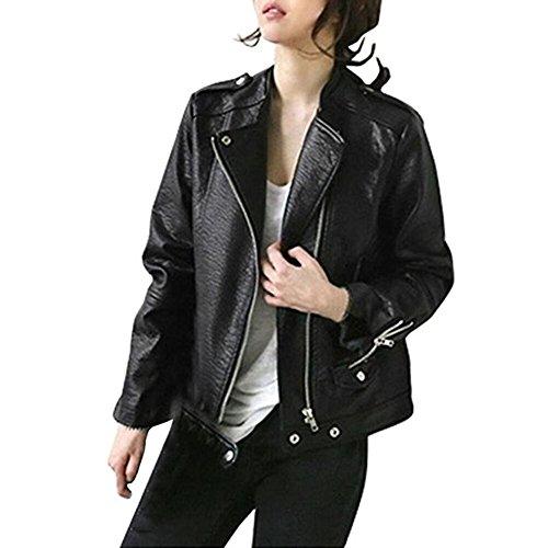Damen Jacken, GJKK Damen Herbst Dickes Leder Motorradjacke Mantel Reißverschluss Lederjacke Tops Mantel (Schwarz, L)