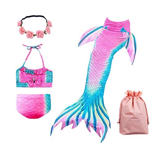 Lx-Top Cola Sirena niña Nadar Traje baño Set Bikini