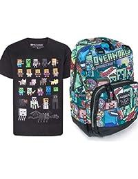 Official Minecraft Steve Overworld Backpack and Sprites T-Shirt Gift Set Bundle