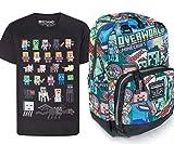 Minecraft Steve Overworld Backpack and Sprites T-Shirt Gift Set Bundle