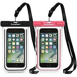 iVoler [IPX8 Certificado] [2 Unidades] Funda Bolsa Móvil Impermeable Universal 6.2 Pulgadas para iPhone,Samsung,Huawei,BQ Aquaris,LG,Sony,Motorola,Monedas,Pasaporte,etc. (Negro+Rosa)