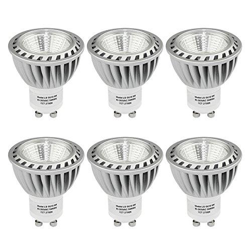 SHINE HAI Bombillas LED Gu10 Lámparas Halógenas Equivalentes a 50W, Blanco cálido 2700K, 480LM,6W, con Casquillo de aluminio, Iluminación LED 230V,Spot luz, No regulable 6 Unidades