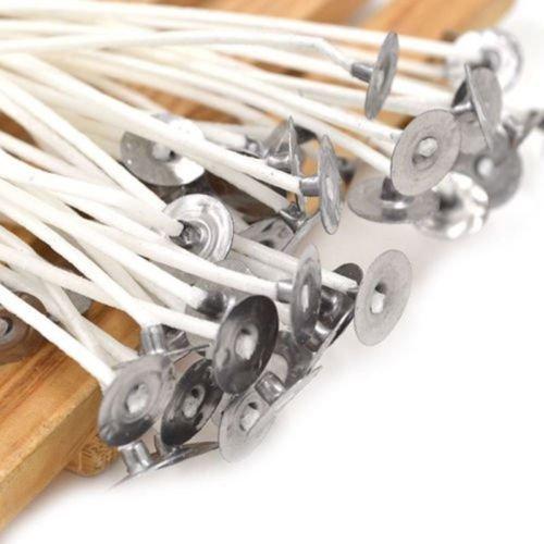Mechas Enceradas Pre, Blanco Vela mechas algodón Core encerado sustainers para ara Fabricación de Velas, 10cm,100 pcs