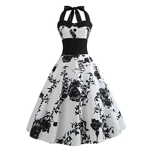 Yvelands Rockabilly Kleider Neckholder 50s Vintage Kleid Retro Knielang Kleider Damenkleider Festlich Cocktailkleider Kleid Petticoat Faltenrock Weiß