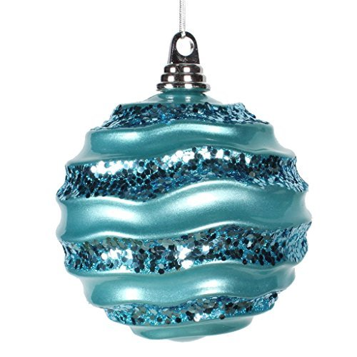 Vickerman 33587 - 6 Teal Candy Glitter Wave Ball Christmas Tree Ornament (M132012) by Vickerman