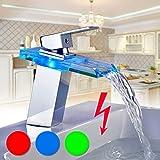 Auralum® Niederdruckarmatur Wasserhahn LED RGB Glas Wasserfall Chrom Waschbecken Waschtischarmatur Wasserspar Mischbatterie Armatur Badarmatur für Badezimmer Küche