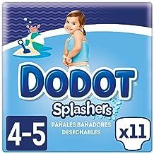Dodot Splashers - 4 Paquetes de 11 Pañales Bañadores Desechables, 9-15 kg,