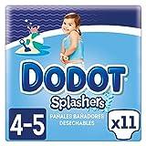 Dodot Splashers - 4 Paquetes de 11 Pañales Bañadores Desechables, 9-15 kg, No Se Hinchan Y Fácil de quitar, Talla 4