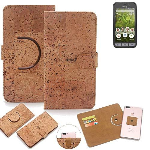K-S-Trade Schutz Hülle für Doro 8031 Handyhülle Kork Handy Tasche Korkhülle Schutzhülle Handytasche Wallet Case Walletcase Flip Cover Smartphone