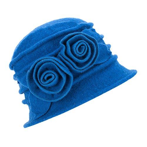 Lawliet Lawliet Eleganter Vintage-Glockenhut aus Wolle für Damen. Warme Kopfbedeckung für den Winter. Gr. Einheitsgröße, 287_Blue