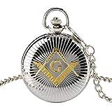 xigeya nuevo el amarillo de moda Masónico Brújula Cuadrado Patrón Cadena de reloj de bolsillo de la esfera grande), color plateado