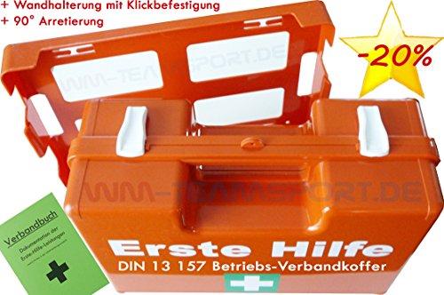 BETRIEBS VERBANDSKASTEN Erste Hilfe Koffer DIN 13157 Verbandkasten + Wandhalter orange 500200