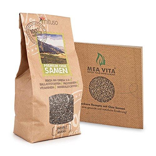 Premium Chia Samen Top Qualität aus Südamerika, 1000g inklusive Rezeptsammlung!