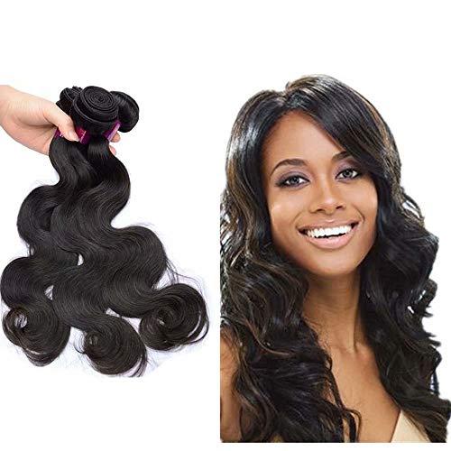 Queengirl Virgin brasilianisches Haar mit Verschluss Body Welle, 3 gewellte Bündel Remy Echthaar, 1 Stück 4 x 4 cm, schwarze Spitzen - Virgin Kunststoff Natur