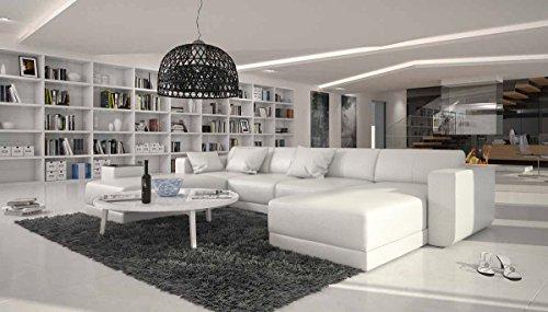 SalesFever XXL Wohn-Landschaft mit Kunstleder Bezug 340x220 cm U-Form weiß | Maferra-U | Designer Eck-Sofa mit Recamiere Links | Couch-Garnitur für Wohnzimmer Weiss 340cm x 220cm -