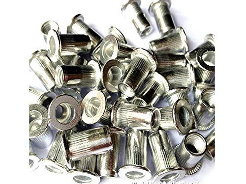 Veda 25 x Blindnietmuttern insgesamt 100 Stück 25xM4,25xM5,25xM6,25xM8 Gewinde Aluminium Nietmutter Insert Nutsert -