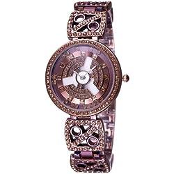 WEIQIN 3905Fashionable and Elegant Diamond Dial Quarz Jewelry Armband Wrist Uhr mit Diamond Encrusted Alloy Band für Frauen (Coffee)
