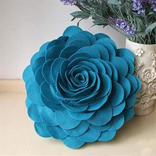 Leidenschaftlicher Truthahn 2 Stück Filz Rose Blume Kissen 3d handgefertigt dekorative Wurfkissen Bett Sofa Auto Wohnzimmer nach Hause Hochzeitsdekoration 34cm rund, See blau, 34x34cm (Blumen-kissen Filz)
